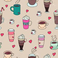 Coffee Cups Colorful Cute Seamless Vector Pattern Hand Drawn Set For Textile Or