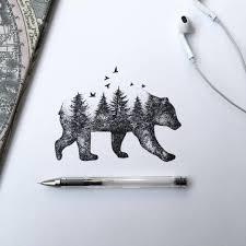 Wild Bear Tattoo Ink Drawing