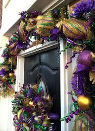 Burlap Mardi Gras Door Decorations by Mardi Gras Deco Mesh Wreath With Purple Fleur De Lis Mardi Gras