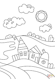 Village Coloring Page Template Medium Size Large