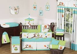 Turquoise and Lime Hooty Owl Baby Bedding 9 pc Crib Set only $189 99