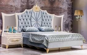 casa padrino luxus barock schlafzimmer set blau weiß gold 1 doppelbett mit kopfteil 2 nachttische mit spiegel barock schlafzimmer möbel