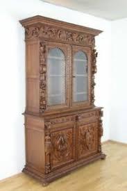 details zu buffet renaissance vitrine anrichte prunkschrank eiche esszimmer jagdmotiv antik