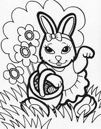 Female Easter Bunny Holding A Basket Eggs Coloring Page