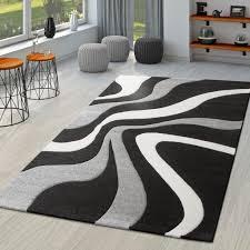 teppich schwarz weiß grau wohnzimmer teppiche modern mit konturenschnitt größe 80x150 cm