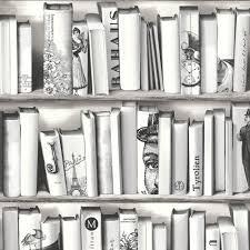 Muriva Book Shelf Case Pattern Library Vintage Motif White Wallpaper E82209