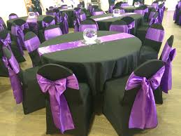 Black Chair Covers With Cadbury Purple Satin Sashes At A Welsh ... Black Tablecloths White Chair Covers Holidays And Events White Black Banquet Chair Covers Hashtag Bg Sashes Noretas Decor Inc Cover Stretch Elastic Ding Room Wedding Spandex Folding Party Decorations Beautifull Silver Sash Table Weddings With Classic Set The Mood Joannes Event Rentals Presyo Ng Washable Pink Wedding Sashes Napkins Fvities Mns Premier Event Rental Decor Floral Provider Reception Room Red Interior