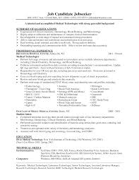 Resume Sample For Medical Technologist Laboratory Technician Skills