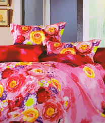 Rose Petals Multicolour Polyester Floral Double Bed Sheet With 2
