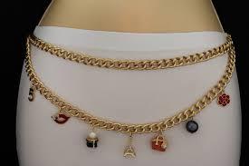 gold metal two rows chains links belt purse flower eiffel lips 5