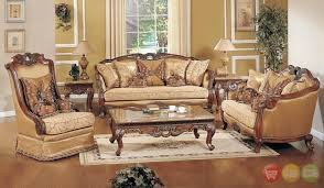 Exposed Wood Luxury Traditional Sofa LoveSeat Formal Living Room Furniture Set Sets For