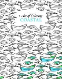 Coloring Book Adult Coastal Sea Wave Fish Ship Art Page Calm Therapy Meditative