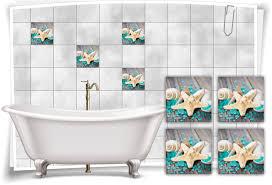 fliesen aufkleber spa wellness seestern muscheln salz türkis holz bad wc deko