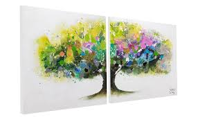 acrylic painting rainbow tree 160x80 cm
