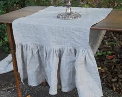 Linen Table Runner Ruffled Wedding Decor Settings French Country Farmhouse