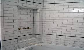white bathroom tile ideas subway tiles grout glass with black