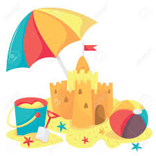 A Cartoon Vector Illustration Of Sandcastle Bucket Beach Ball And Umbrella Stock