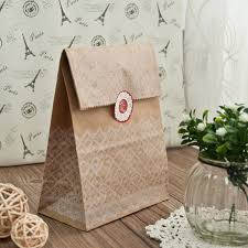 Discount Vintage Lace Wedding Favors Paper Bags With Seal EWFB087