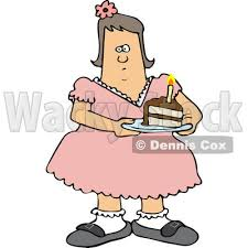 Clipart of a Fat White Girl Holding a Slice of Birthday Cake Royalty Free Vector Illustration