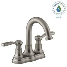 Brushed Nickel Bathroom Faucets Home Depot by Kohler Worth 4 In Centerset 2 Handle Bathroom Faucet In Vibrant