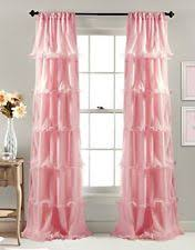 Pink Ruffle Blackout Curtains by Pink Curtains Drapes And Valances Ebay