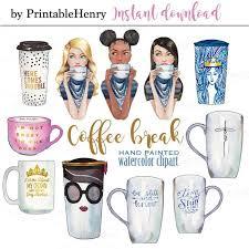 Starbucks Coffee Clipart Fashion Graphics Planner Girl Print