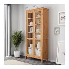 hemnes glass door cabinet light brown ikea storage