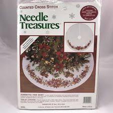 Item 5 Needle Treasures 02940 Poinsettia Christmas Tree Skirt Counted Cross Stitch Kit