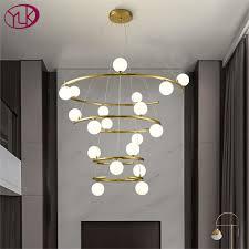 neue moderne kronleuchter beleuchtung für treppe gold ring