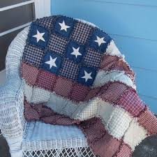 American Flag Rag Quilt Made To Order Wall Lap Rustic