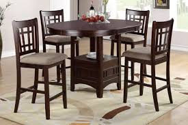 5 Piece Counter Height Dining Room Sets poundex 5 piece counter height dining set in dark rosy brown f2345