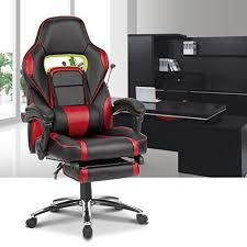 Reclining Gaming Chair With Footrest by Langria High Back Racing Style Faux Leather Executive Computer