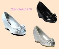 little girls jr youth high heel wedge open toe glitter pageant
