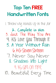 Top Ten FREE Handwritten Fonts Free For Personal Use Please Pay Commercial