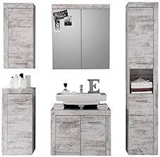 trendteam smart living badezimmer 5tlg set cancun 175x184x34 cm in weiss pinie shabby chic retro nachbildung mit viel stauraum