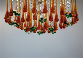 vintage teardrop and fruit murano glass chandelier for sale at pamono