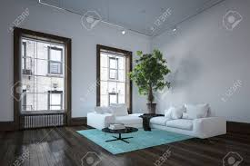 geräumiges wohnzimmer im stadtwohnung in minimalistischer innenarchitektur mit weißer dunkler boden und großer innenpflanze in der nähe