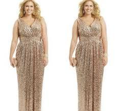 2015 plus size formal dresses gold sequin sheath v neck