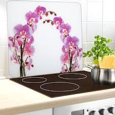 plaque protection murale cuisine protection murale en verre orchidée protection plaques de cuisson