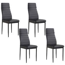 Details About Set Of 4 Stunning Black Dining Chairs Comfortable Leather  Dining Room Furniture