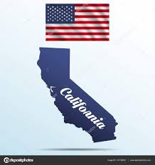 California State With Shadow USA Waving Flag Stock Vector