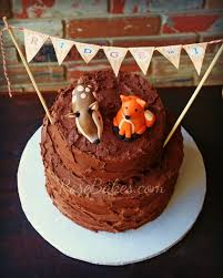 Deer Fox Rustic Chocolate Birthday Cake With Bunting