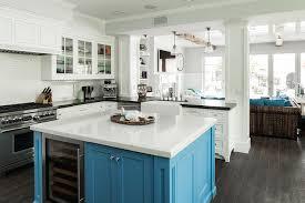 White Kitchen Turquoise Blue Island