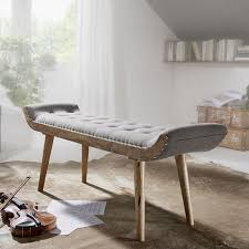 wohnling sitzbank stof massivholz bank 125x51x38 cm chesterfield design polsterbank stoffbank bettbank