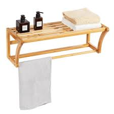 costway handtuchhalter wandhandtuchhalter wandregal badregal hängeregal bambus badezimmer mit handtuchstange und ablage zur wandmontage