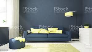 blau und gelb wohnzimmer stockfoto und mehr bilder architektur