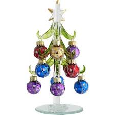 6 Green Christmas Tree With 12 Ornaments Topper