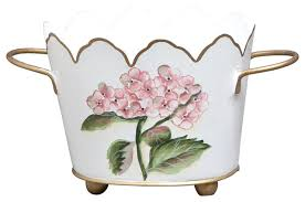 Allen G Designs Pink and Blue Hydrangea Small Cachepot With