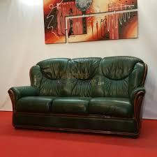 canapé cuir et bois rustique stylisé cuir vert bois apparent 3 places n124