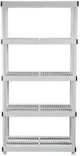 Hdx Plastic Storage Cabinets by Hdx 5 Shelf Heavy Duty Plastic Ventilated Storage Shelving Unit